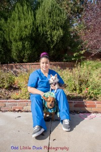 Janie Parkside Animal Health Center veterinary assistant with small dog